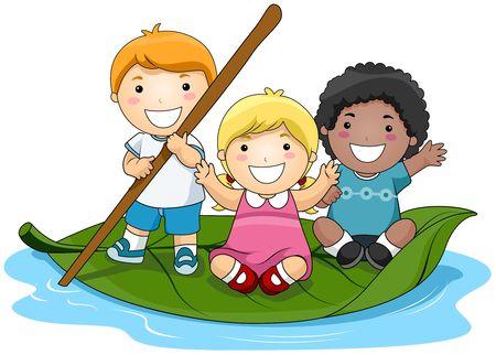 Group of children: Children on Leaf Boat