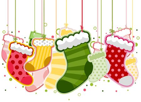 stockings: Christmas Stockings On Strings Stock Photo