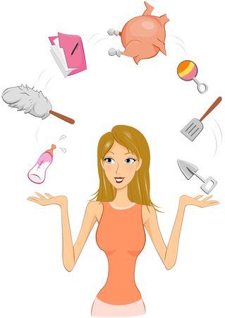 between: Woman juggling between different tasks