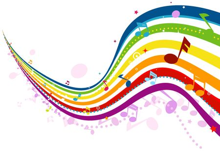 musical staff: Music Wave in Rainbow Colors