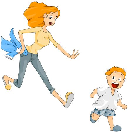childcare: Boy running away from mother holding his shirt