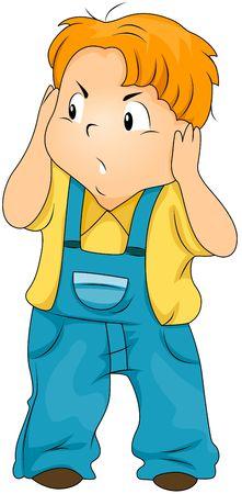 ruido: Kid molesta cubriendo sus o�dos
