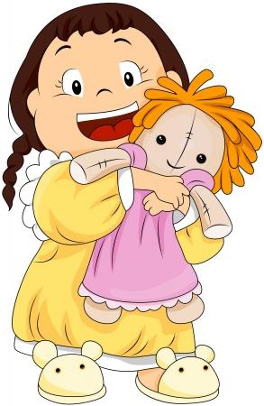 rag: Child hugging her doll Stock Photo
