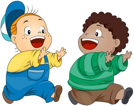 child clipart: Children Playing Tag