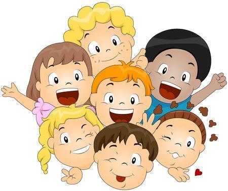 cute clipart: Happy Children
