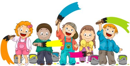 child clipart: Children Painting