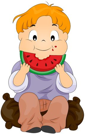 Child eating watermelon photo