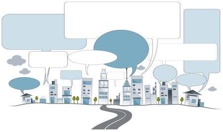 City Buildings with blank Speech Bubbles photo