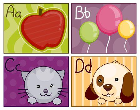 cat alphabet: A - D Flash Card Design Stock Photo