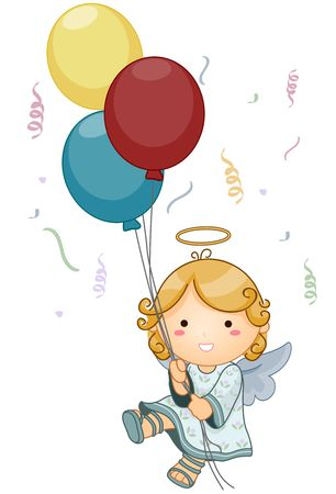 spiritual beings: Cute Angel holding Balloons