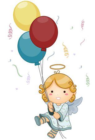 angel birthday: Cute Angel holding Balloons