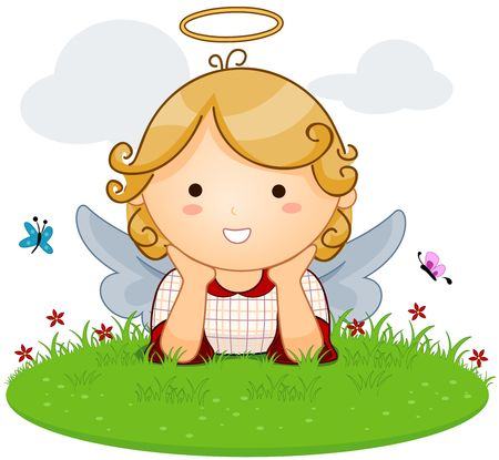 angel cartoon: Cute Angel lying on Grass
