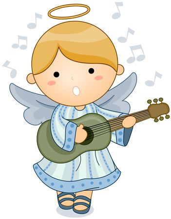halo: Cute Angel Singing and Playing the Guitar  Stock Photo