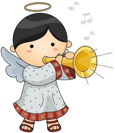 angel cartoon: Cute Angel blowing Horn Stock Photo