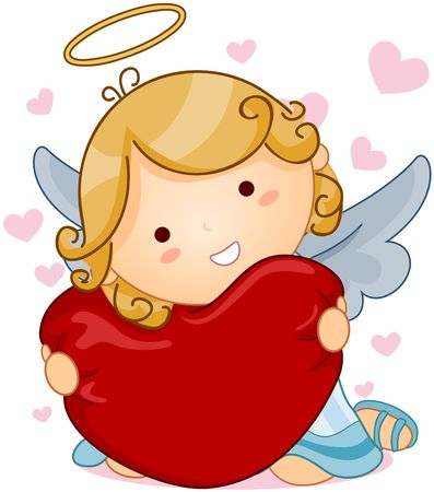 cupids: Cute Angel hugging Heart  Stock Photo