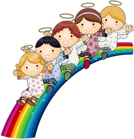 beings: Angels on Rainbow  Stock Photo
