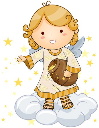beings: Cute Angel sprinkling stars Stock Photo