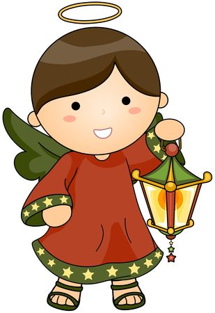 beings: Christmas Angel holding lantern