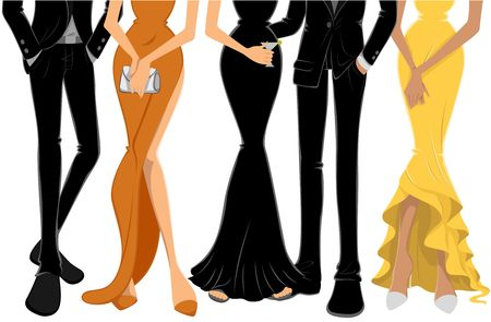 evening gown: Lower Body of People at a Party