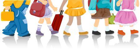 clip art feet: Lower Body of children going to school