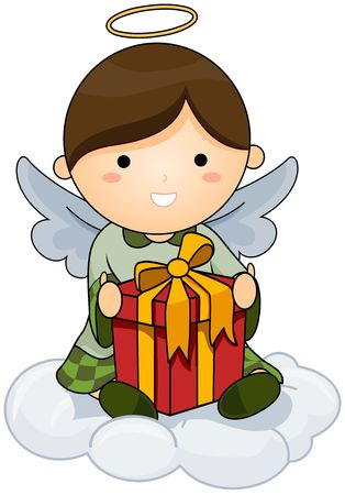 beings: Christmas Angel holding Gift