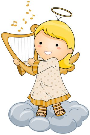 religious angel: Angel Playing Harp Stock Photo