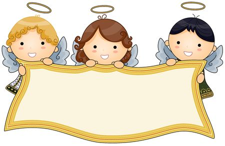 beings: Angels holding Banner  Stock Photo