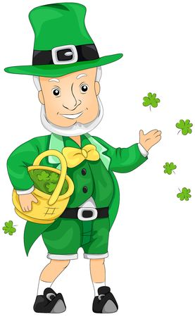Leprechaun throwing Shamrocks Stock Photo - 6810649