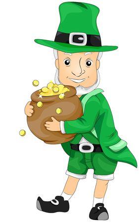 threeleaf: Leprechaun holding Pot of Gold