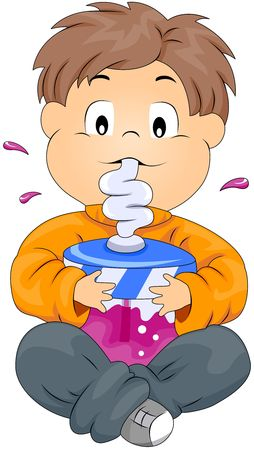 sipping: Boy sipping Drink Stock Photo