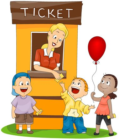 fun festival: Children at the Ticket Booth