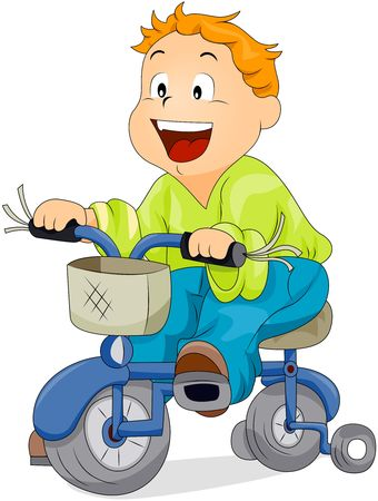 Boy riding Bicycle photo