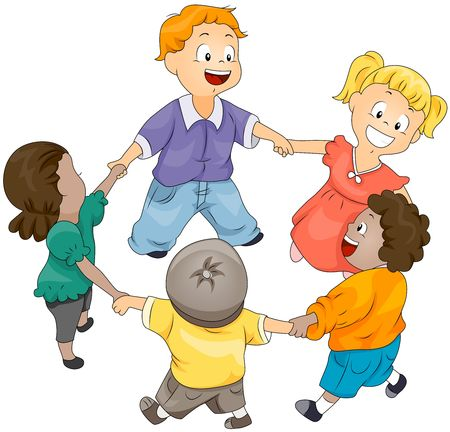 girotondo bambini: Bambini in cerchio  Archivio Fotografico