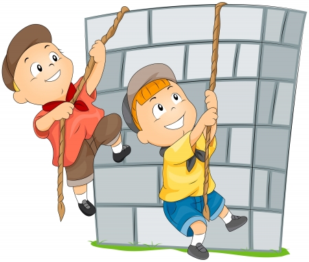 Children Climbing Wall  photo