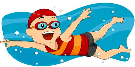 young boy in pool: Boy Swimming  Stock Photo