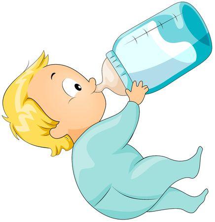 tomando leche: Beb� bebiendo leche de la botella de leche Foto de archivo