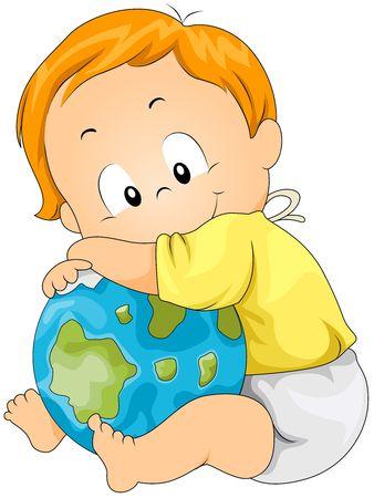 clip clip art: Baby hugging Globe