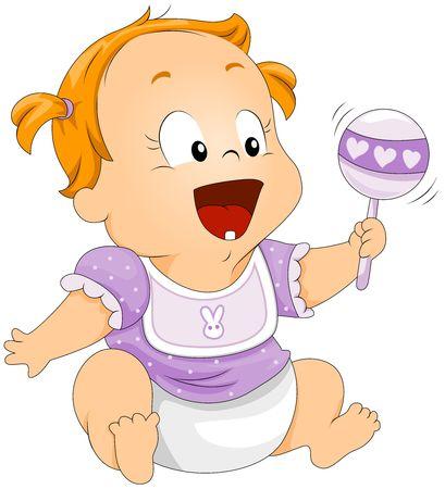 grzechotka: Baby z Rattle Zdjęcie Seryjne