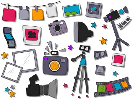 strobe light: Photography Icons  Stock Photo