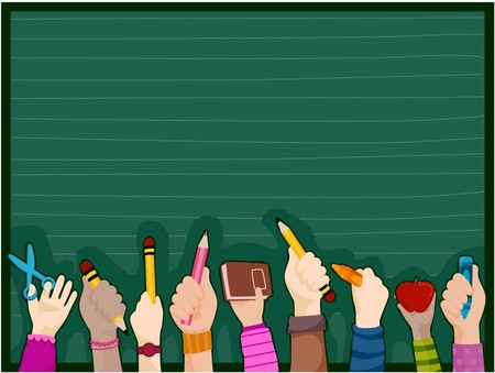 blackboard cartoon: Students Hands against blackboard Stock Photo