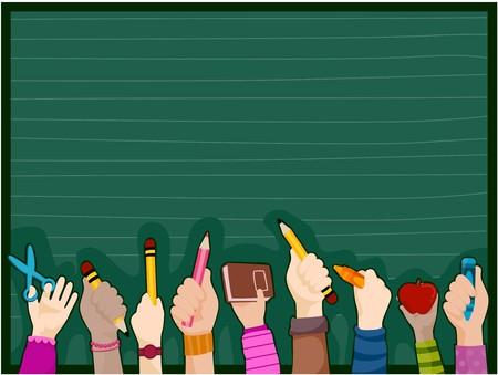 blackboard isolated: Students Hands against blackboard Stock Photo