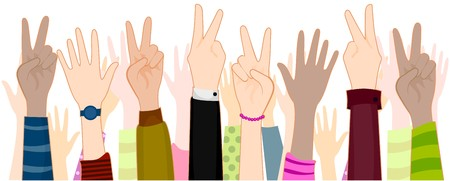 masses: Hands with Peace Sign  Stock Photo