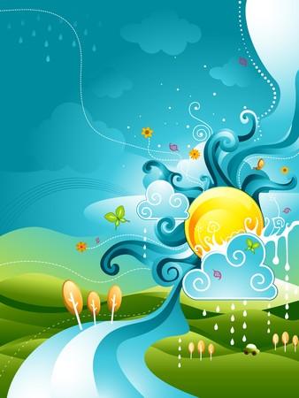 sun cartoon: Abstract Nature Design