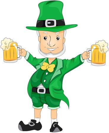 threeleaf: Leprechaun with Beer
