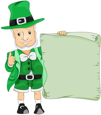 threeleaf: Leprechaun with Announcement  Stock Photo
