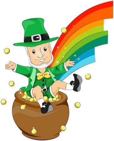 threeleaf: Leprechaun on Pot of Gold