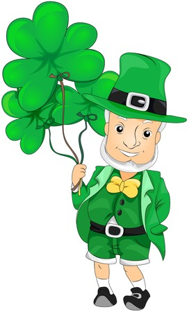 Leprechaun with Shamrock Shaped Balloons  Stock Photo - 6968854