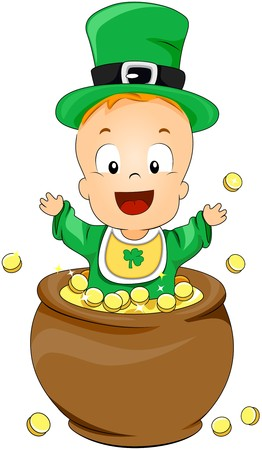 Baby on Pot of Gold  Stock Photo