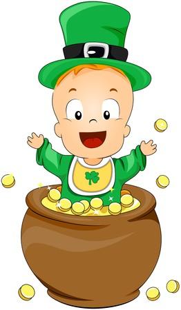threeleaf: Baby on Pot of Gold  Stock Photo