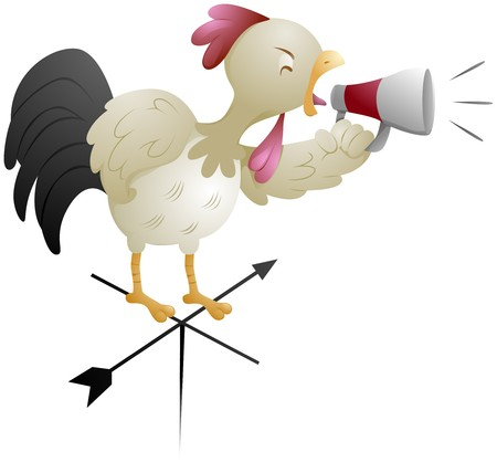 crowing: Rooster holding megaphone Crowing
